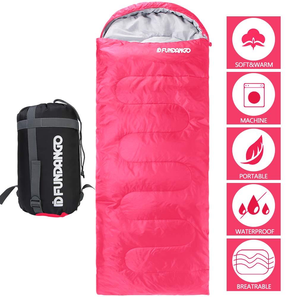 FUNDANGO Sleeping Bag Adults/Kids Lightweight Rectangular/Mummy Compact Waterproof Portable Cool Weather Season Sleeping Bags for Camping Backpacking Hiking (200GSMPink, 220x75cm-Right) by FUNDANGO