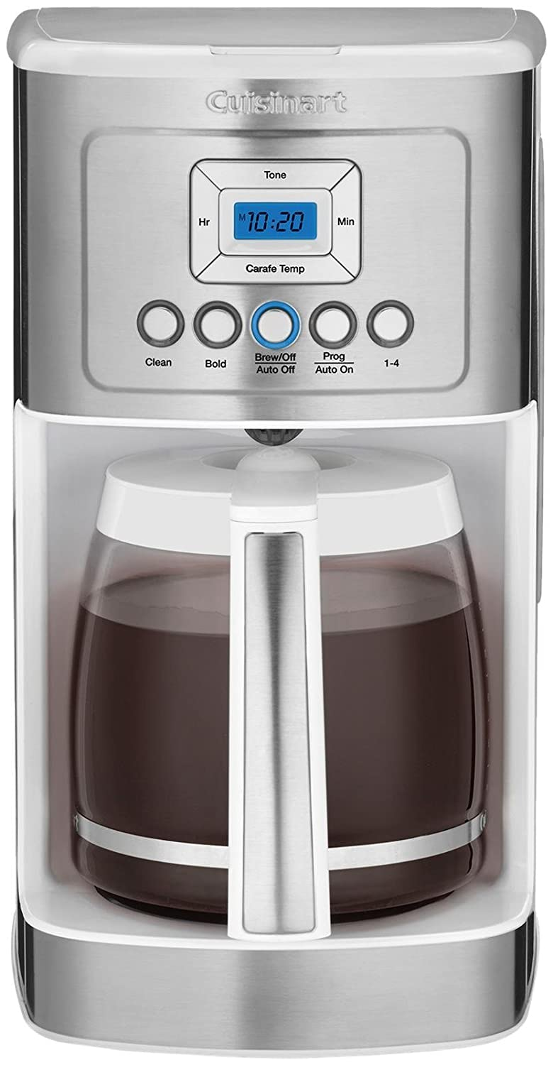 Cuisinart DCC-3200W 14C Glass Carafe with Stainless Steel Handle Programmable Coffeemaker, White