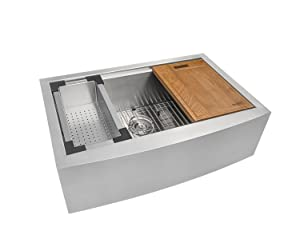Ruvati 33-inch Apron-front Workstation Farmhouse Kitchen Sink 16 Gauge Stainless Steel Single Bowl - RVH9200