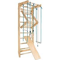 COSTWAY Klimwand Kinderen Turnwand, Zweedse Ladder, Kinderen Gym Klimrek, Optrekstang, Krachttraining Optrekstangen…
