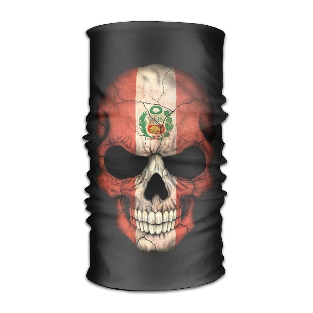 Peru Flag Skull Microfiber Headwear Multifunctional Bandana ...