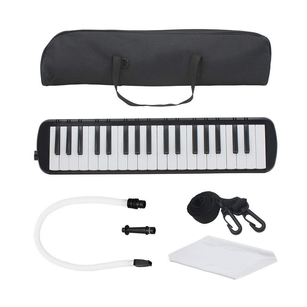 Melodica Musical Instrument 37 Keys Piano Style Melodica Full Sets With Carrying Bag Straps Double 2 Mouthpieces Tube Educational Portable Musical InstrumentGift Toys For Kids Music Lovers Beginners f