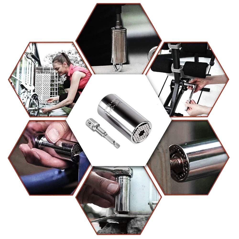 Universal Socket Wrench Set Repair Tools Gift for Men Women DIXIUZA Multi-Function Ratchet Socket Grip Adapter Set Fits Standard 1//4-3//4 Metric 7-19mm