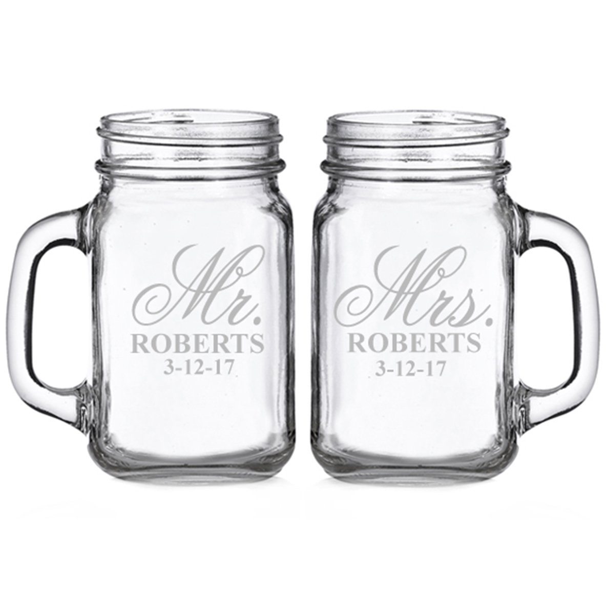 Mr. and Mrs. Elegant Script Personalized Glass Mason Mugs (set of 2)