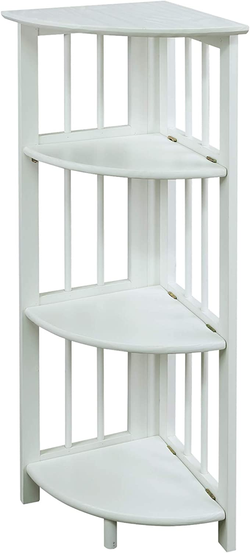 Casual Home 4-Shelf Corner Folding Bookcase, White (New)