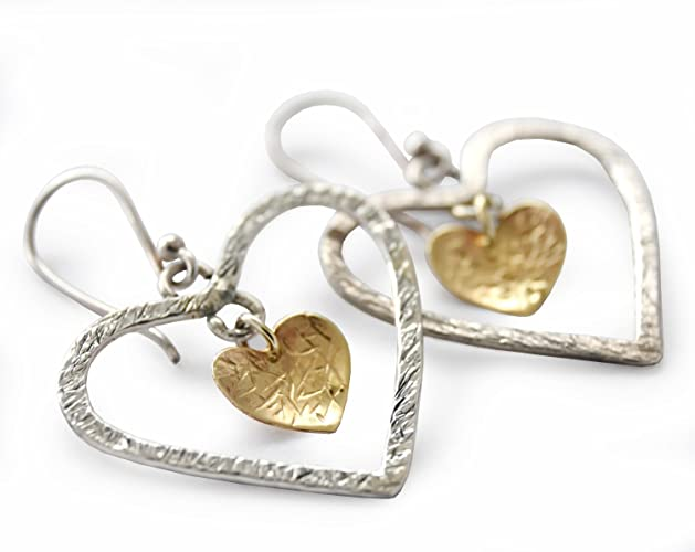 df6dc3f75 Amazon.com: Silver Gold heart Earring, 9k yellow gold and Sterling silver, mixed  metals dangle earrings, heart earrings, Hammered silver, ...