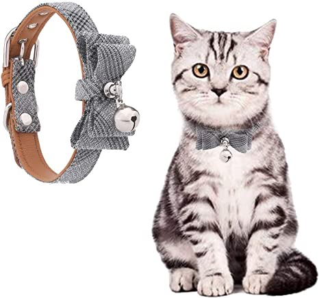 Generous,Fashion,4 colors Blue+Pink Andiker Cat Leather Collar with Bowtie Adjustable Soft /& Comfy Dog Bow Tie for Puppies PU Leather Cat Collar with Bell