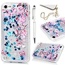 MOLLYCOOCLE iPod Touch 6 Clear Case,Transparent Crystal Clear Soft TPU Bumper Protective Handmade Bling Sparkle Glitter Quicksand Star Flowing Liquid Cover Case for iPod Touch 6 6th Generation