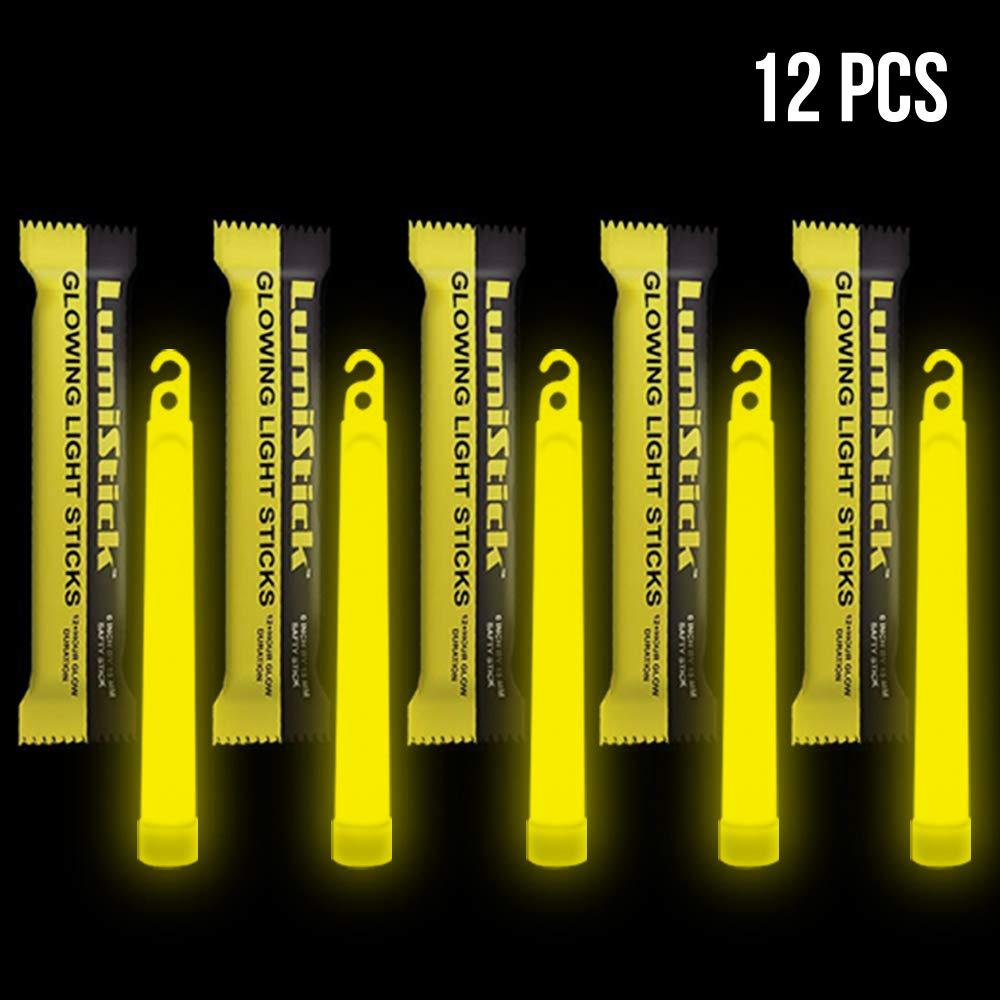 Lumistick 6 Inch Emergency Glow Sticks | 15mm Thick Flat Bottom Illuminating Light Sticks | Kids Safe, Waterproof & Non-Toxic Light Up Neon Sticks for Camping & Hiking (Yellow, 12 Glow Sticks) by Lumistick