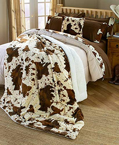 Rodeo Faux Fur Cowhide Sherpa King 87 x 95 Blanket : Western Brown Faux Fur Ranch Cow - Rodeo Cowhide Western
