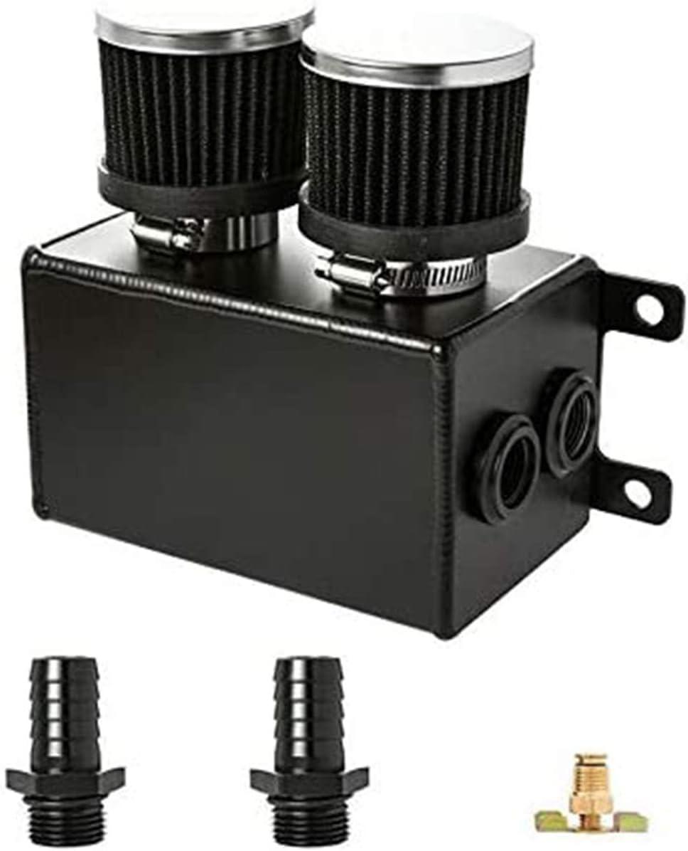 Pnndee 1.2L Twin Baffle Dual Filter Engine Oil Catch Can Tank Reservoir AN8