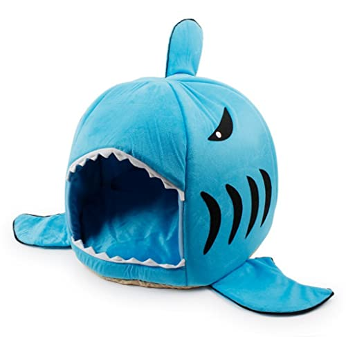 Grey Shark Bed for Small Cat Dog Cave Bed With Removable Cushion