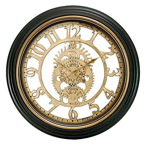 Kiera Grace Gears Wall Clock, 20-Inch, 2-Inch Deep, Bronze Finish
