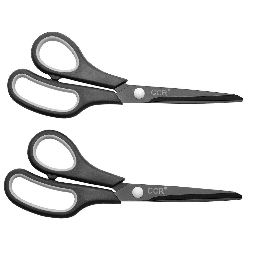 CCR Scissors 8 Inch Soft Comfort-Grip Handles Sharp Titanium Blades, 2-Pack