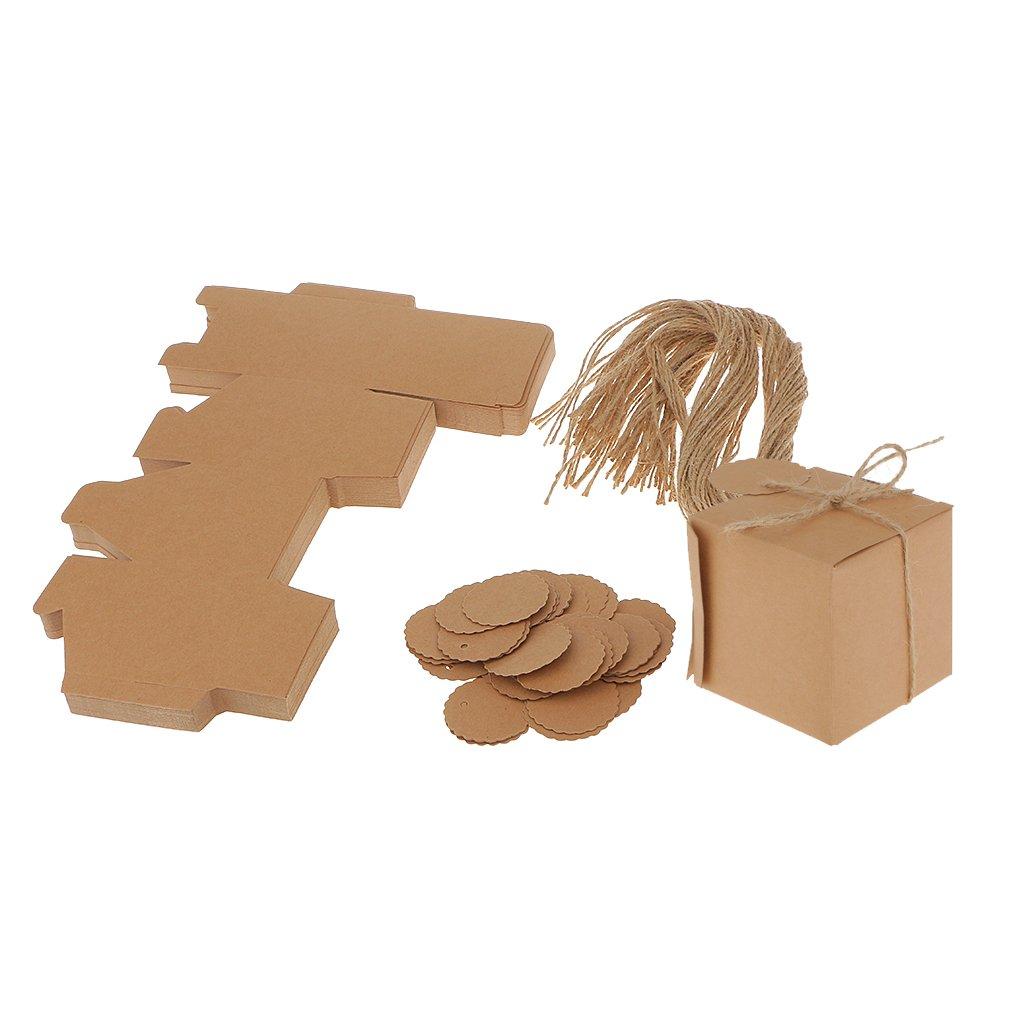 Desconocido 50pcs Cajas de Dulces Bolsa Kraft Etiquetas Favores Boda Partido Ducha de Bebé 7x7x7cm Generic STK0156012265