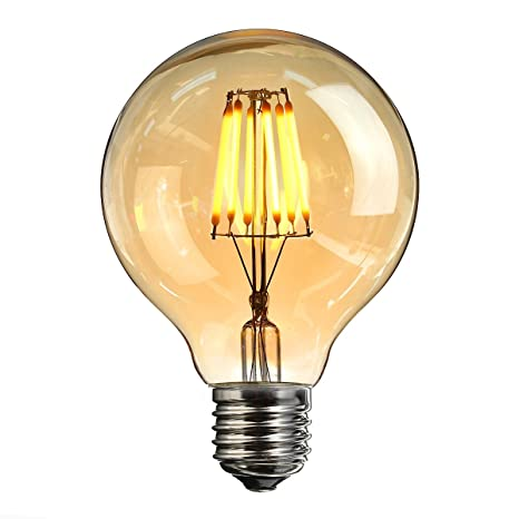 Edison Light Bulbs,Elfeland E27 LED Vintage Light Bulbs Retro 6W Base de tornillo Bombillas de bajo consumo Jaula de ardilla Filamento ajustable Bombillas ...
