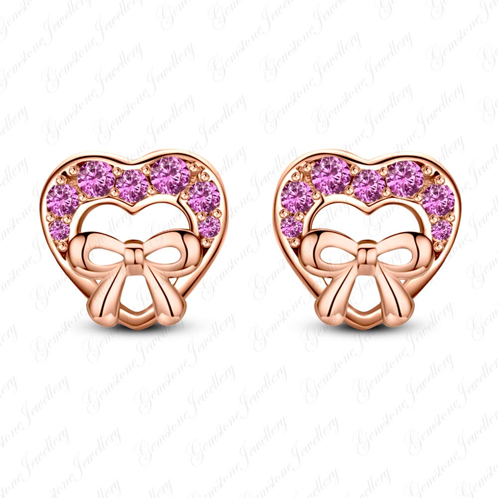 Gemstone Jewellery Heart Minnie Mouse Earrings For Girls With Pink Sapphire 14k Rose Gold Finishing