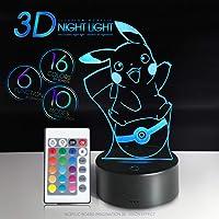 Lámpara de noche 3D Illusion Pikachu de 16 colores con mando a distancia, interruptor táctil, USB, función de luz gradual, regalo de cumpleaños (BK), Bulbasaur, Pikachu Ver2