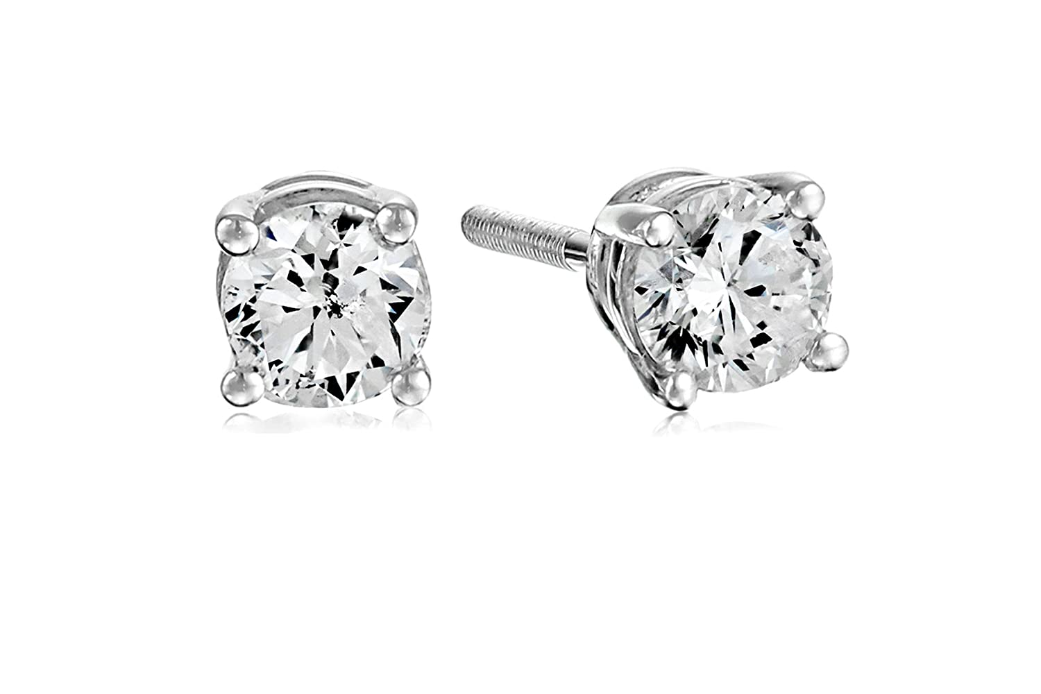 88c80743c Certified 14k White Gold Diamond with Screw Back and Post Stud Earrings  (J-K Color,