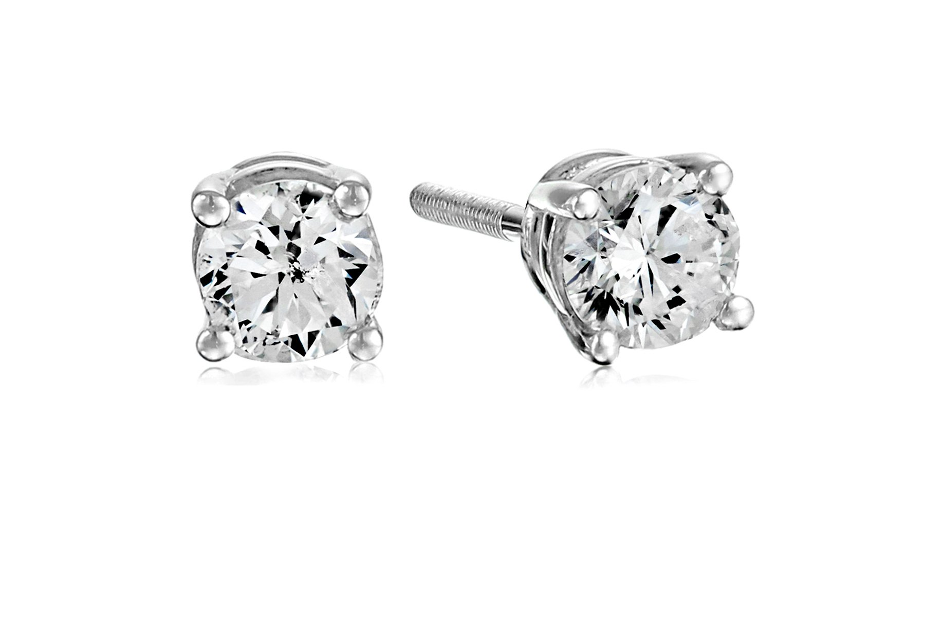 Certified 14k White Gold Diamond with Screw Back and Post Stud Earrings (1/2cttw, J-K Color, I1-I2 Clarity)