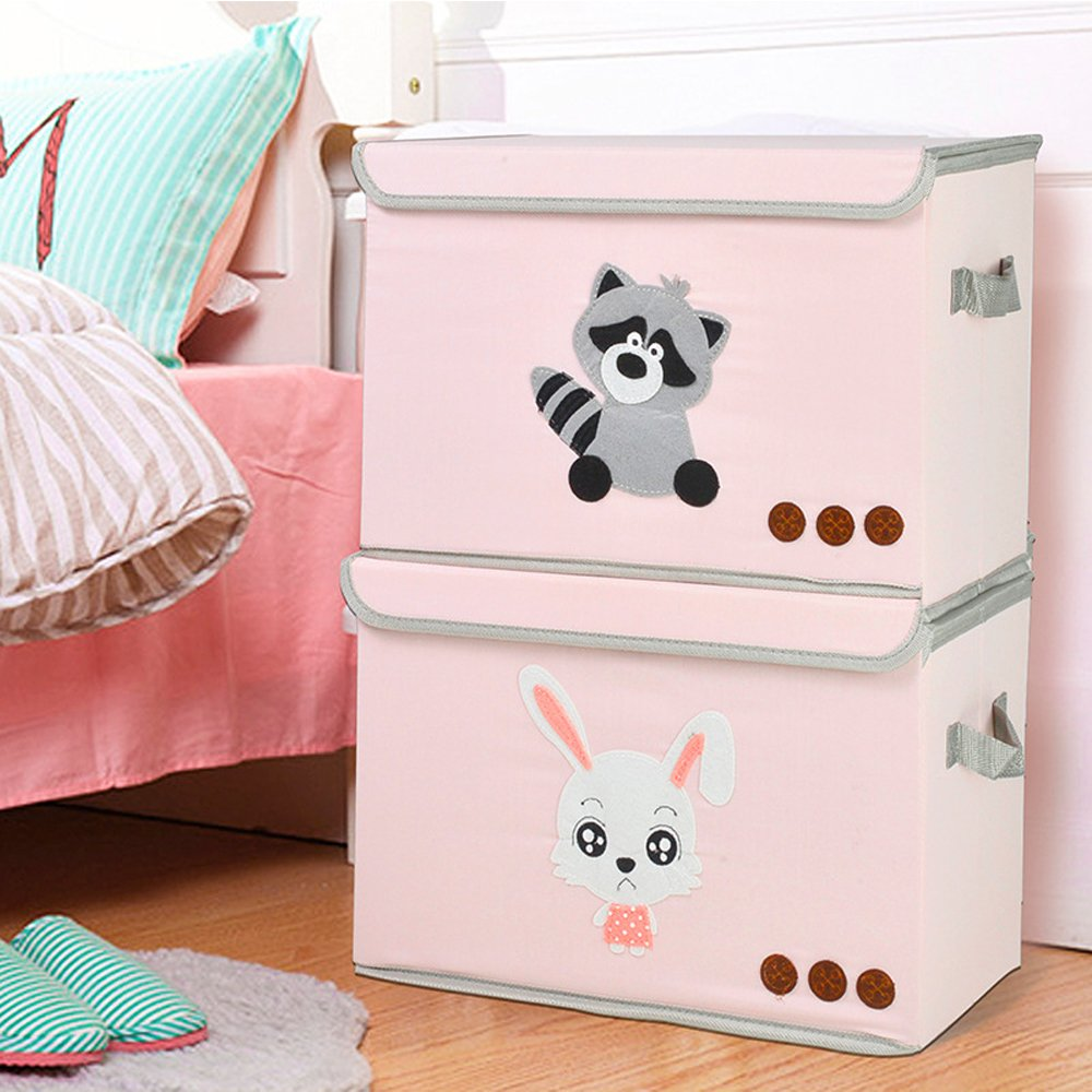 Baby Toys Foldable Storage Bin with Flip-top Lids and Handle Collapsible Cube Chest Box with Lid for Organizing Kids Books Gift Basket Qutool Closet Dog Toys Nursery Supplies,Laundry Clothes