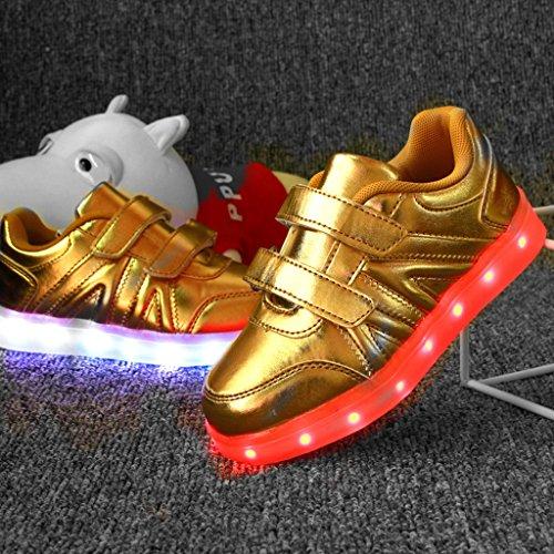 DoGeek Zapatos LED Deportivos Para Hombres Mujeres 7 Color USB Carga LED Luz Glow Luminosos Zappatillas Light Up USB Velcro Flashing Zapatillas Gold