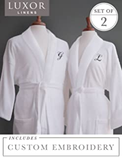 919cdbe9df Luxor Linens Couple s Terry Cloth Bathrobe Egyptian Cotton Unisex One Size  Luxurious Soft Plush Elegant