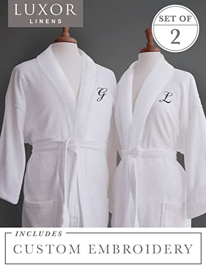 Amazon.com  Luxor Linens Couple s Terry Cloth Bathrobe Egyptian ... 2acb20dc3