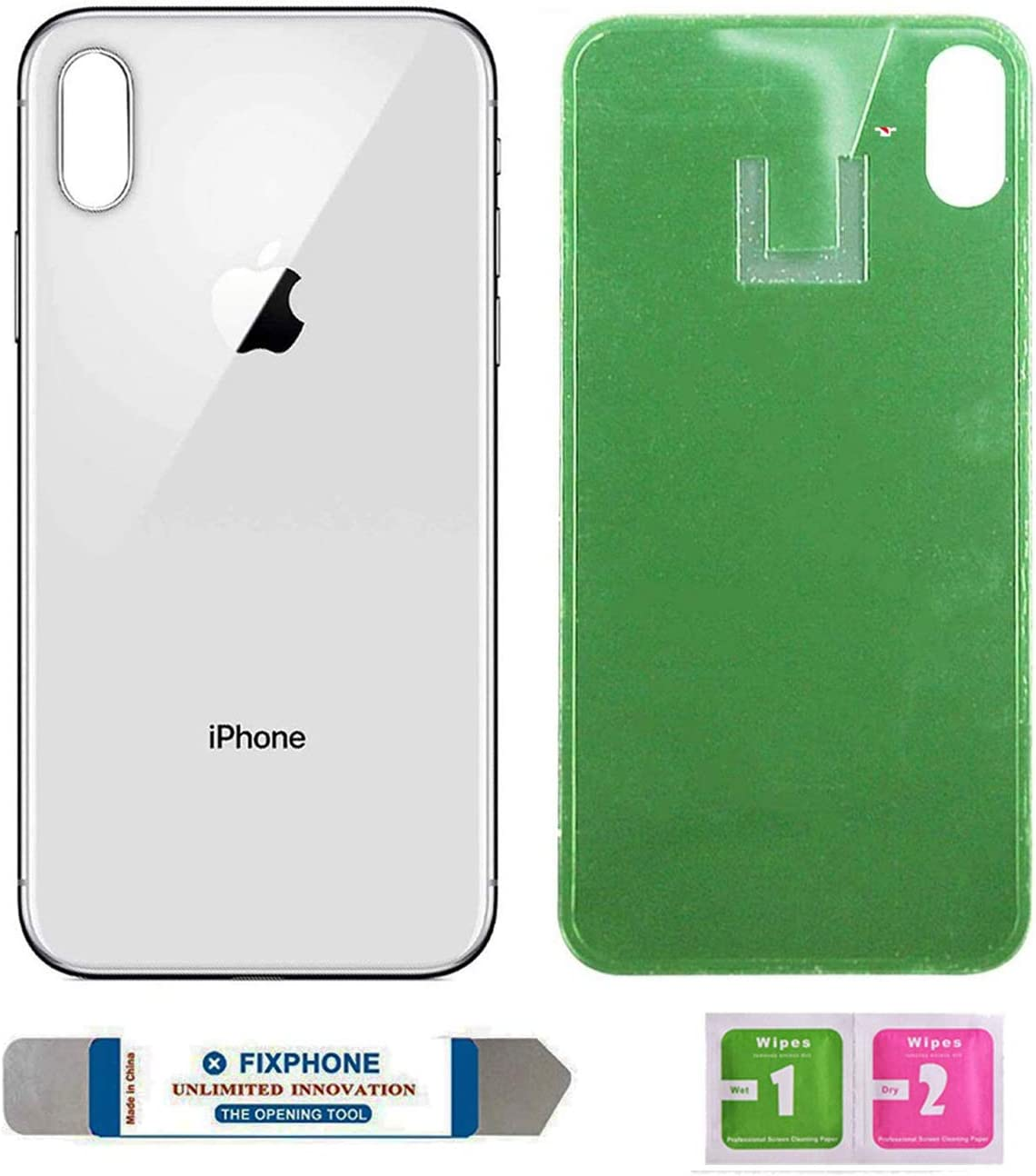 OEM Replacement Back Glass Cover Back Battery Door Replacement for iPhone X with Pre-Installed Adhesive and Tool (Silver)