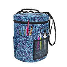 Knitting Yarn Storage Bag Large-sized Cylinder Crochet Hook Wool Storage Tote Organizer with pockets (A:KB005)
