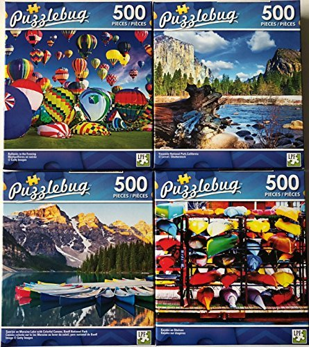 Price comparison product image Bundle of 4 Puzzlebug 500 Piece Puzzles Lot C: Balloons in the Evening ~ Yosemite National Park California ~ Sunrise on Moraine Lake with Colorful Canoes Banff National Park ~ Kayaks on Shelves