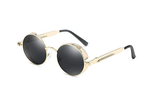 29c500092 Classic Gothic Steampunk Sunglasses Polarized Men Women Vintage Round Metal  Frame Sun Glasses Uv400,T8028
