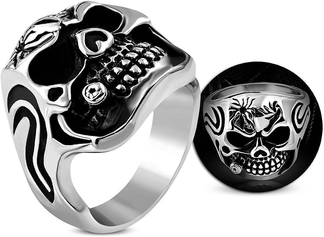 Stainless Steel 2 Color Vintage Gothic Ghost Skull Biker Ring