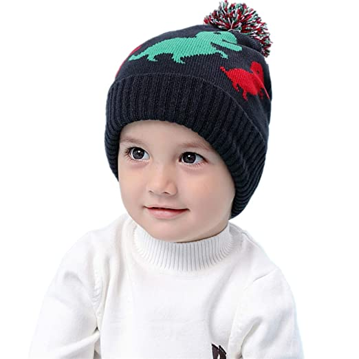 ELIKIDSTO Infant Toddler Winter Hat Boys Dinosaur Beanie Knitted Skull Hats  Cotton Soft Earflap for Baby 69a7044126ff