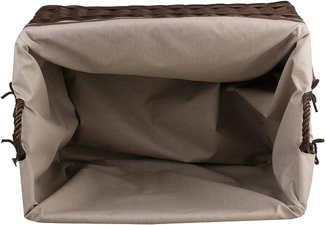 e-wicker24 Dunkelbrauner rechteckig Rollkorb aus Weide vollweidener Kaminkorb Rollkorb f/ür Kaminholz Rollkorb mit Stoffbesatz