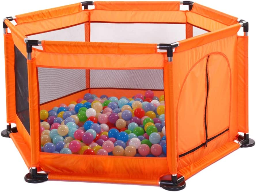 Kids 6-Panel Playpen Portable Washable Play Center Fence with Breathable Mesh for Babies Toddler Newborn Infant,Indoor and Outdoor Black One Size