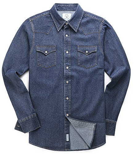 - MOCOTONO Men's Long Sleeve Denim Double-Pocket Shirt Navy Blue XX-Large