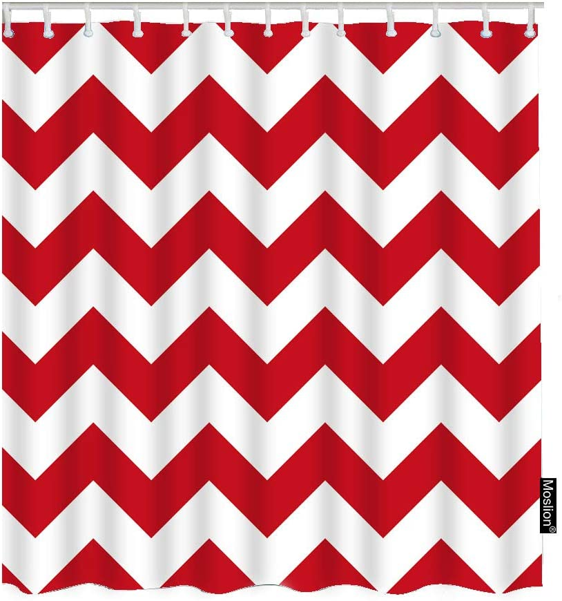 Moslion Striped Bathroom Shower Curtain Retro Geometric Wavy Stripes Chevron Zigzag Red White Waves Shower Curtains Home Decorative Waterproof Polyester Fabric Shower Curtain with Hooks 72x72 Inch