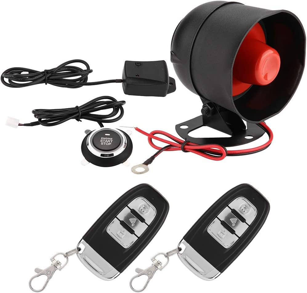 Gorgeri Smart PKE Passive Keyless Entry Car Alarm System with One Touch Push Engine Start Button Vehicles Start//Stop Kit Shock Sensor Alarm Safe Lock
