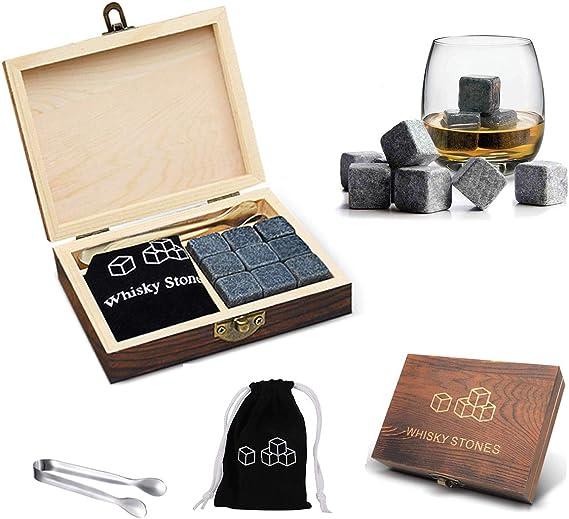 Whiskey Stones Gift Set Wooden Box - 9 Granite Chilling Stones and Tongs Black Velvet Bag