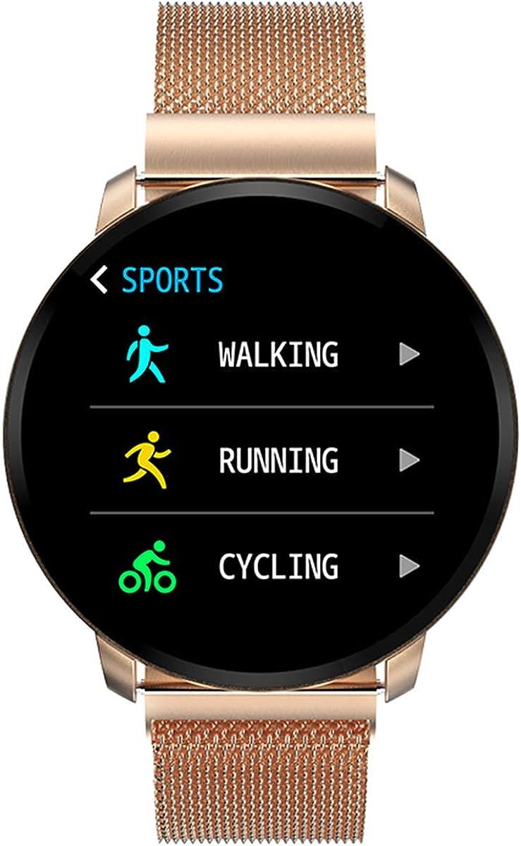 Smartwatch Fashion para Hombre Mujer Impermeable Reloj Inteligente Monitores de Actividad Fitness Tracker con Monitor de Sueño Pulsómetros Podómetro Compatible con iOS Android Huawei (Dorado): Amazon.es: Relojes