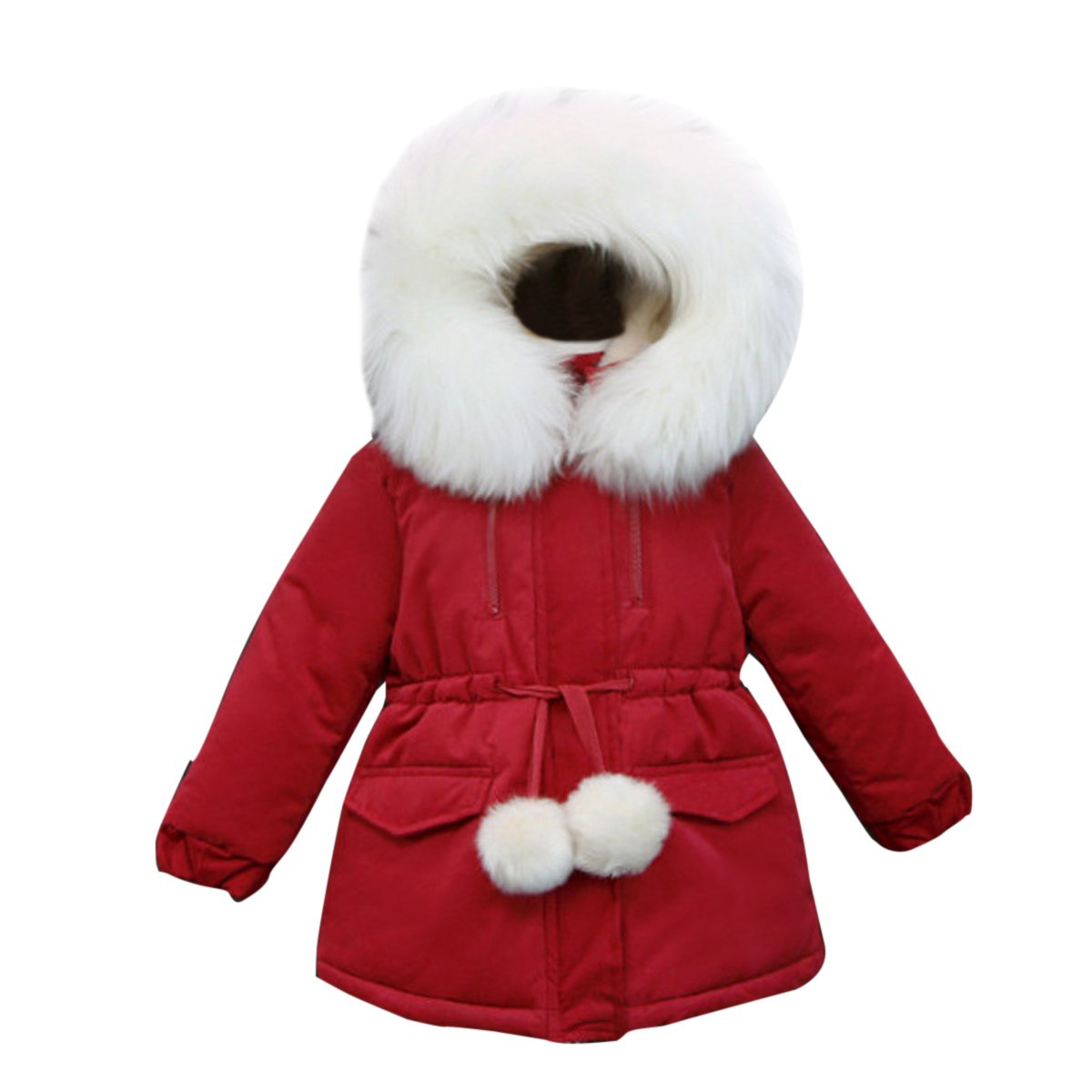 Kanodan Kids Girl Winter Fur Hooded Thick Jacket Cotton Warm Snowsuit 2-12Years