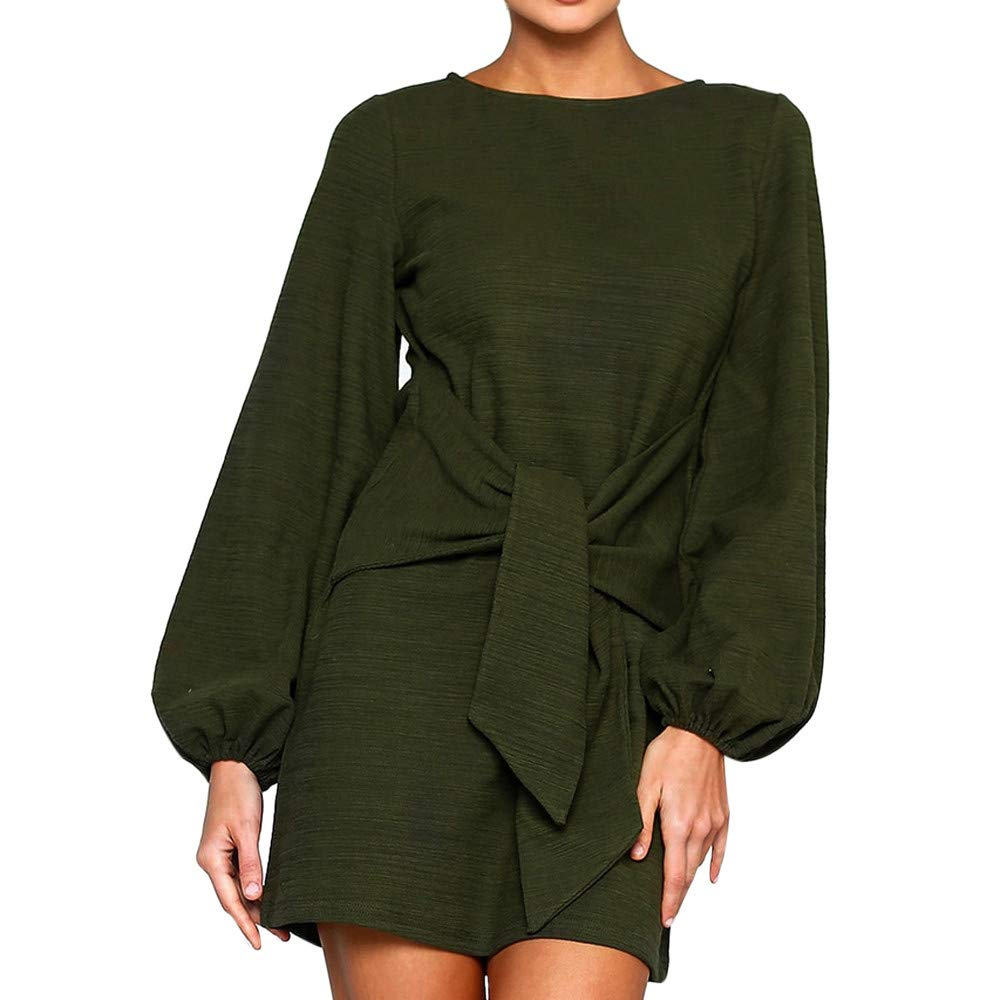 Spbamboo Womens Clearance Fashion Solid Long Sleeve O-Neck Bandage Knitted Dress