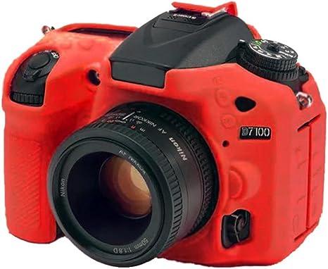 abcten rojo silicona goma cubierta protectora funda para cámara ...
