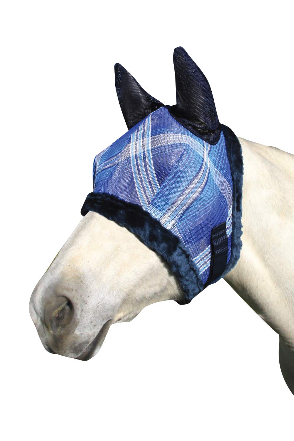 Kensington Pony Fly Mask with Soft Ears and Fleece Trim - Protects Face and Ears from Biting Insects and UV Rays While Allowing Full Visibility (P, Kentucky Blue Plaid)