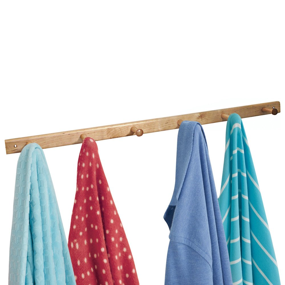 InterDesign Wall Mount Wood Storage Rack – Hanging Hooks for Jackets, Coats, Hats and Scarves - 6 Pegs, Natural