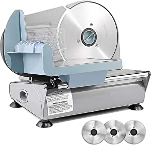 Meat Slicer for Home, Sophinique Electric Deli Food Slicer with 3 Removable 7.5'' Stainless Steel Blades, 150W Adjustable Thickness Slicer Machine for Frozen Meat Cheese Bread and Fruit (3 BLADES)