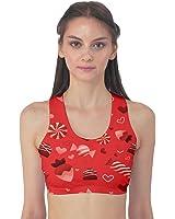 Red Valentine Pattern Design Women's Sport Bra
