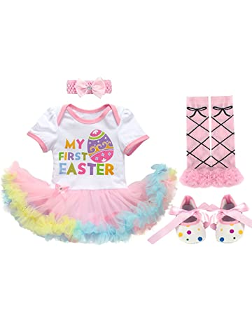 0b55ee0d6ea0 Newborn Infant Baby Girls Toddlers Kids My 1st Easter Eggs Bunny Rabbit Romper  Dress with Headband