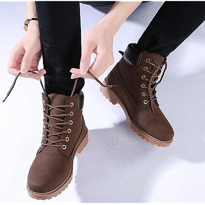 87faa768e07b ... DADAWEN Women s Lace Up Low Heel Work Combat Boots Waterproof Ankle  Bootie Brown US Size 8